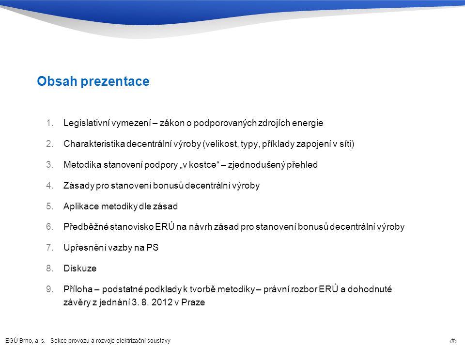 EGÚ Brno, a. s. Sekce provozu a rozvoje elektrizační soustavy 2 Obsah prezentace 1.Legislativní vymezení – zákon o podporovaných zdrojích energie 2.Ch