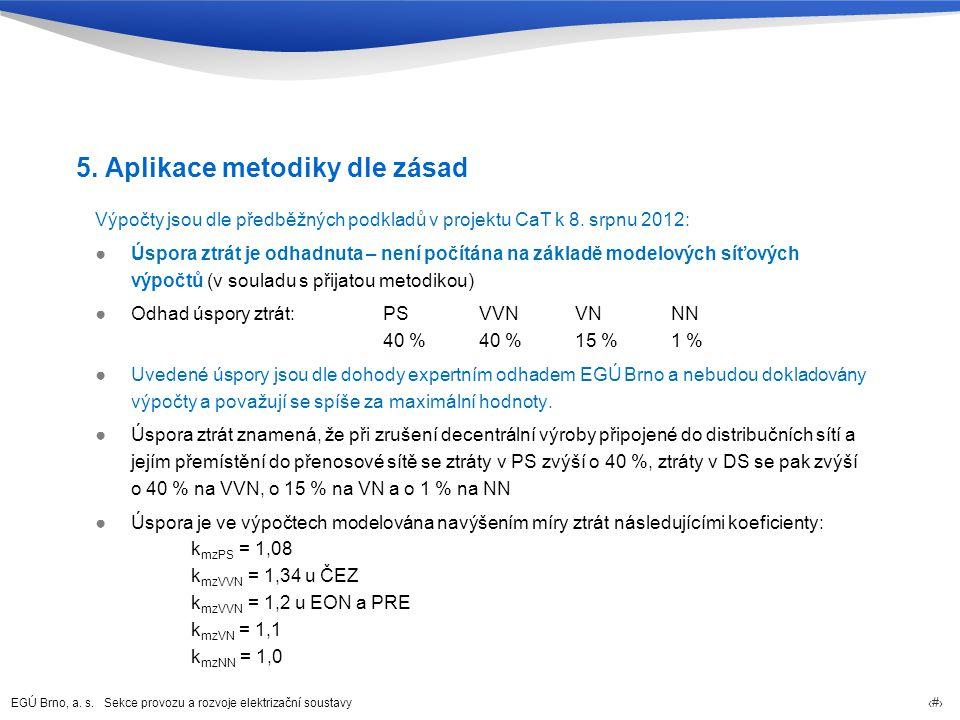 EGÚ Brno, a. s. Sekce provozu a rozvoje elektrizační soustavy 20 5. Aplikace metodiky dle zásad Výpočty jsou dle předběžných podkladů v projektu CaT k