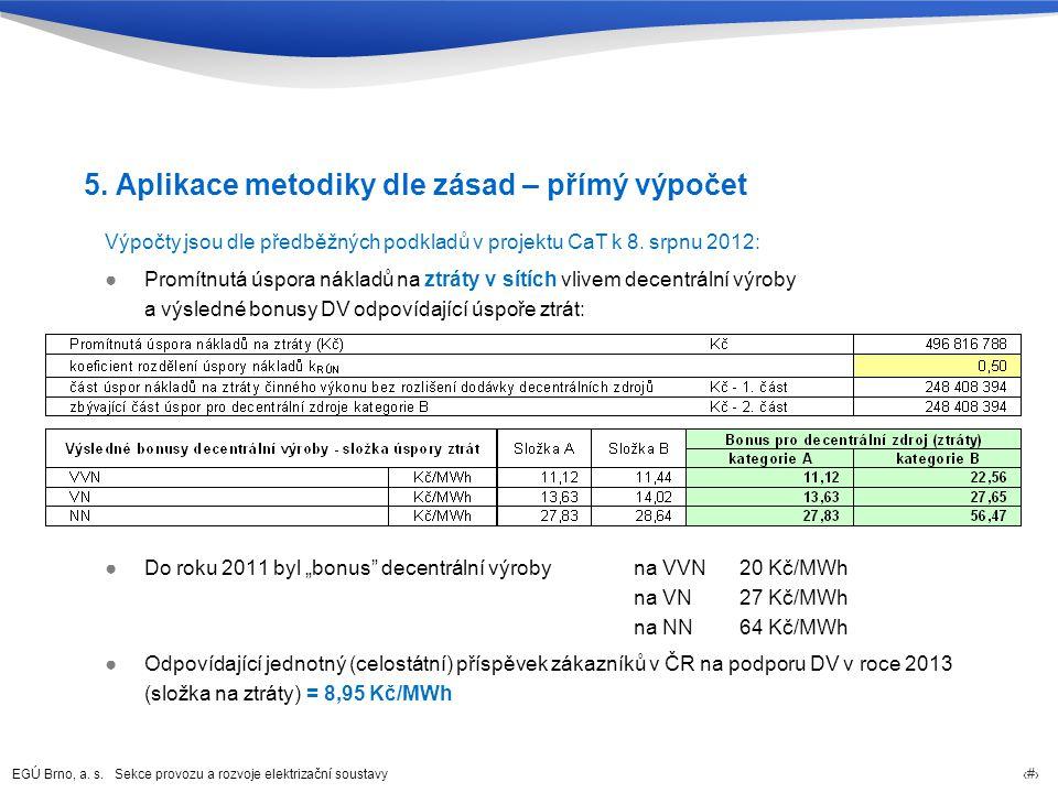 EGÚ Brno, a. s. Sekce provozu a rozvoje elektrizační soustavy 23 5. Aplikace metodiky dle zásad – přímý výpočet Výpočty jsou dle předběžných podkladů