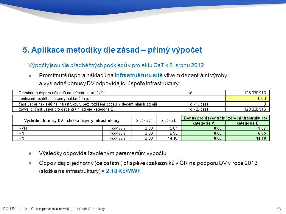 EGÚ Brno, a. s. Sekce provozu a rozvoje elektrizační soustavy 25 5. Aplikace metodiky dle zásad – přímý výpočet Výpočty jsou dle předběžných podkladů