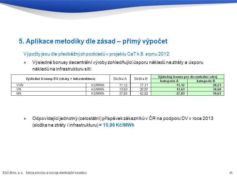 EGÚ Brno, a. s. Sekce provozu a rozvoje elektrizační soustavy 26 5. Aplikace metodiky dle zásad – přímý výpočet Výpočty jsou dle předběžných podkladů