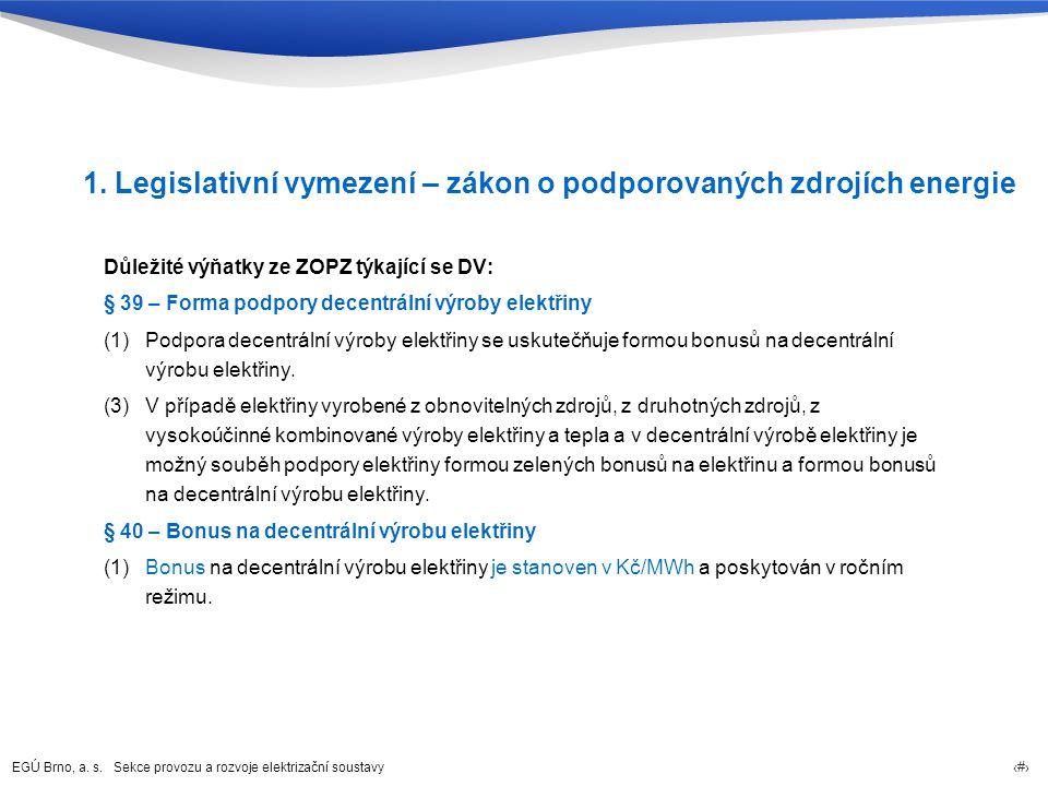 EGÚ Brno, a. s. Sekce provozu a rozvoje elektrizační soustavy 3 1. Legislativní vymezení – zákon o podporovaných zdrojích energie Důležité výňatky ze