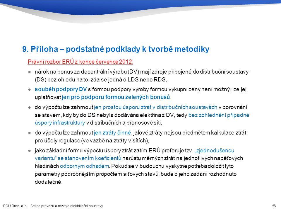 EGÚ Brno, a. s. Sekce provozu a rozvoje elektrizační soustavy 30 9. Příloha – podstatné podklady k tvorbě metodiky Právní rozbor ERÚ z konce července