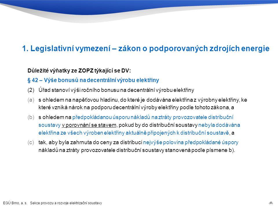 EGÚ Brno, a. s. Sekce provozu a rozvoje elektrizační soustavy 4 1. Legislativní vymezení – zákon o podporovaných zdrojích energie Důležité výňatky ze