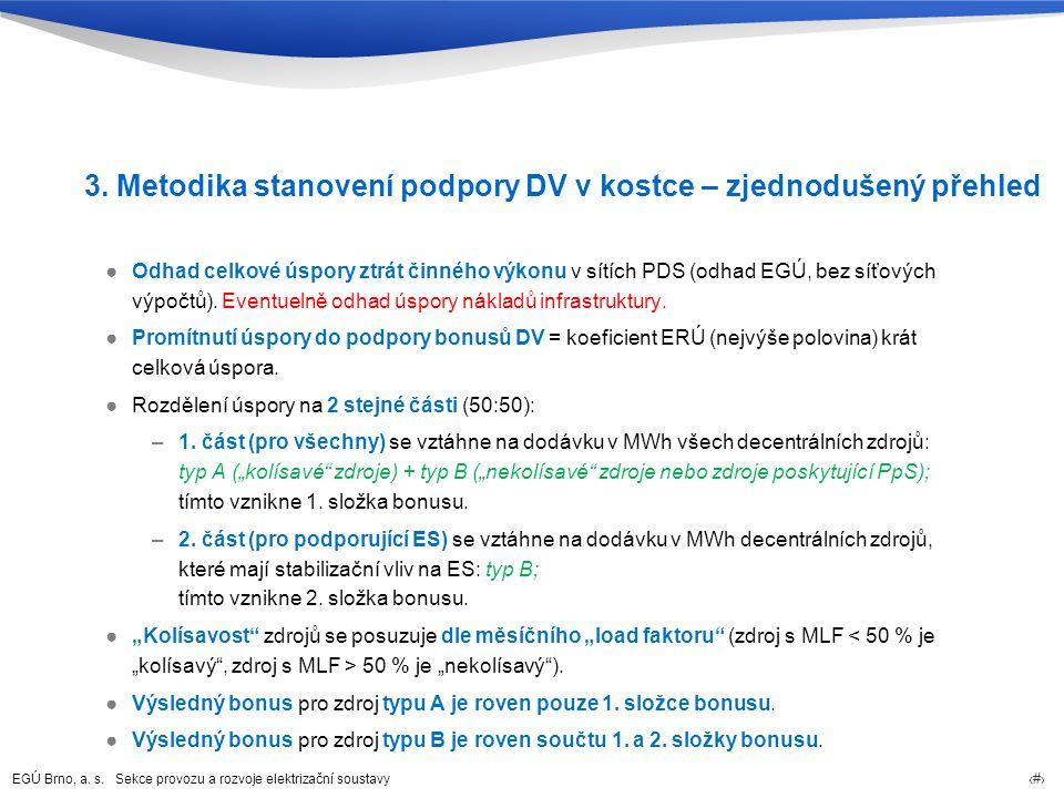 EGÚ Brno, a. s. Sekce provozu a rozvoje elektrizační soustavy 8 3. Metodika stanovení podpory DV v kostce – zjednodušený přehled ●Odhad celkové úspory