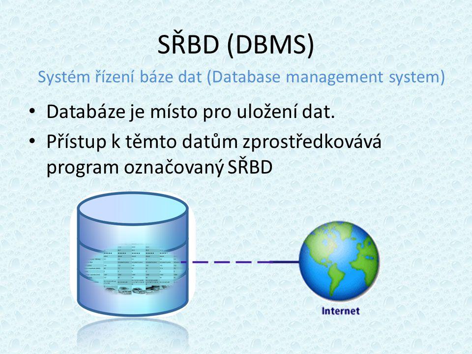 SŘBD (DBMS) Databáze je místo pro uložení dat.
