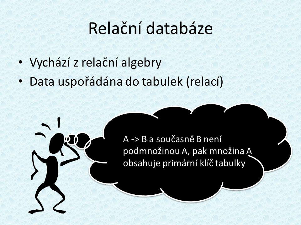 Relační databáze Vychází z relační algebry Data uspořádána do tabulek (relací) A -> B a současně B není podmnožinou A, pak množina A obsahuje primární klíč tabulky