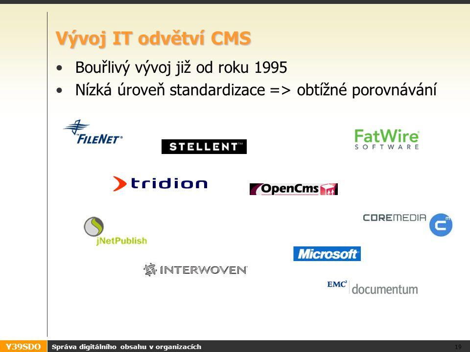 Y39SDO Vývoj IT odvětví CMS Bouřlivý vývoj již od roku 1995 Nízká úroveň standardizace => obtížné porovnávání Správa digitálního obsahu v organizacích 19