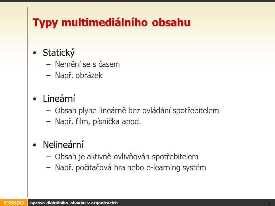 Y39SDO Správa digitálního obsahu v organizacích 4 Typy multimediálního obsahu Statický –Nemění se s časem –Např. obrázek Lineární –Obsah plyne lineárn