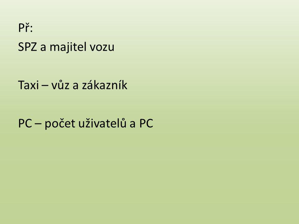 Př: SPZ a majitel vozu Taxi – vůz a zákazník PC – počet uživatelů a PC