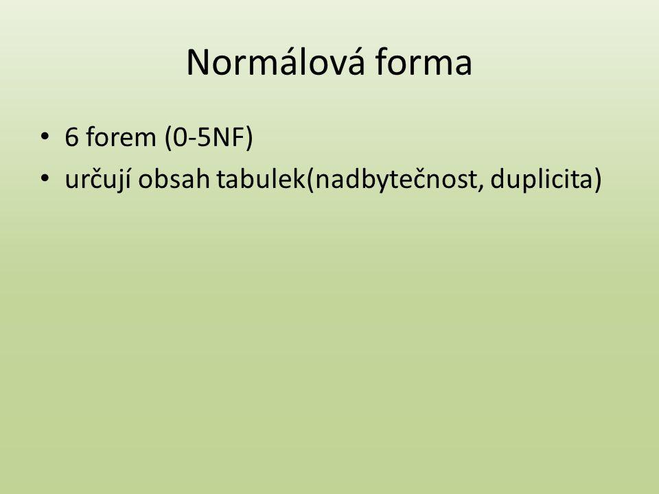 Normálová forma 6 forem (0-5NF) určují obsah tabulek(nadbytečnost, duplicita)