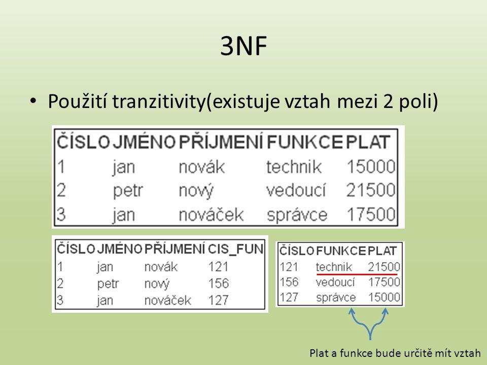 3NF Použití tranzitivity(existuje vztah mezi 2 poli) Plat a funkce bude určitě mít vztah