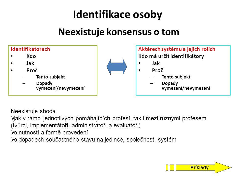 Identifikace osoby Neexistuje konsensus o tom Identifikátorech Kdo Jak Proč – Tento subjekt – Dopady vymezení/nevymezení Aktérech systému a jejich rol