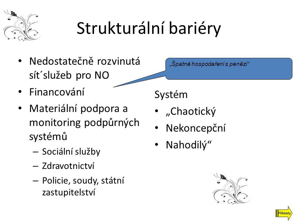 Strukturální bariéry Nedostatečně rozvinutá sít´služeb pro NO Financování Materiální podpora a monitoring podpůrných systémů – Sociální služby – Zdrav