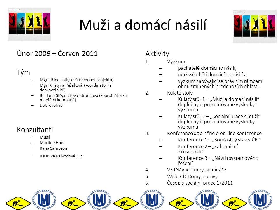 Muži a domácí násilí Únor 2009 – Červen 2011 Tým – Mgr. Jiřina Foltysová (vedoucí projektu) – Mgr. Kristýna Pešáková (koordinátorka dobrovolníků) – Bc