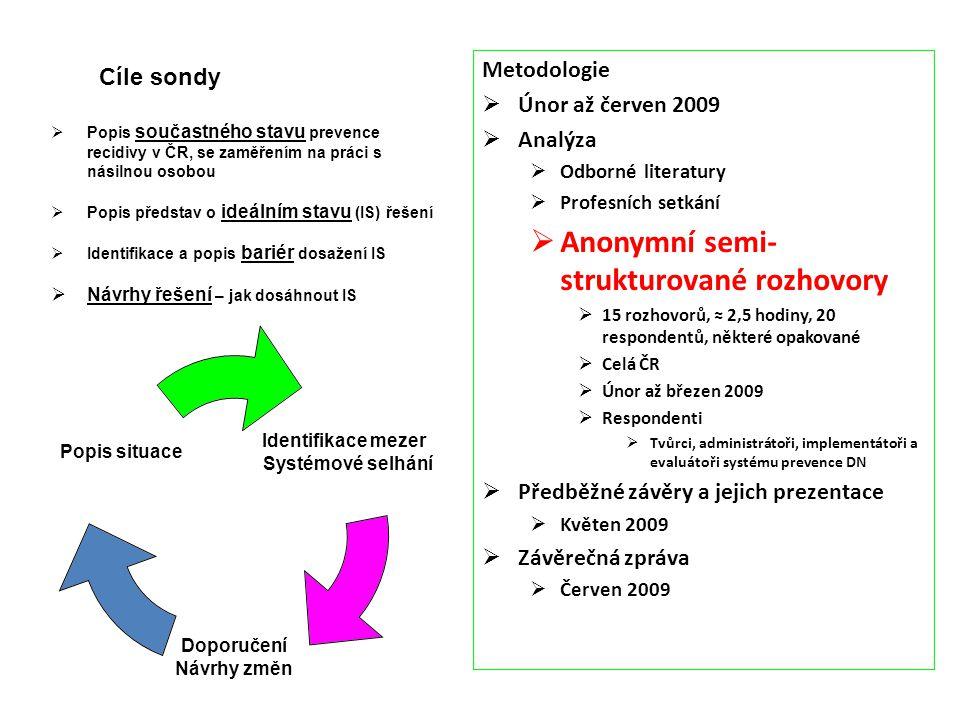 Metodologie  Únor až červen 2009  Analýza  Odborné literatury  Profesních setkání  Anonymní semi- strukturované rozhovory  15 rozhovorů, ≈ 2,5 h