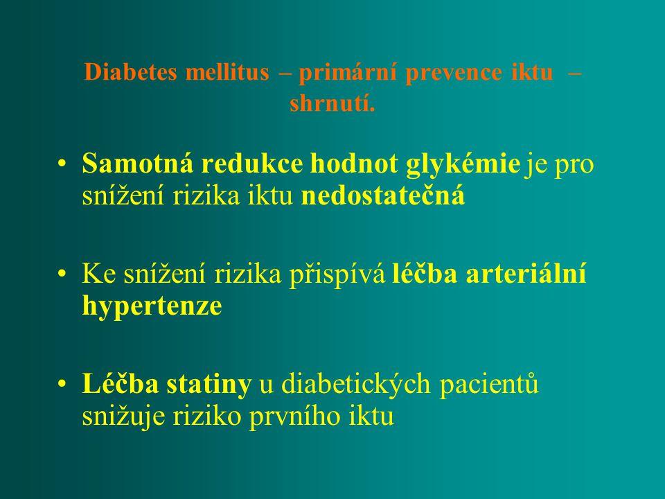 Diabetes mellitus – primární prevence iktu – shrnutí. Samotná redukce hodnot glykémie je pro snížení rizika iktu nedostatečná Ke snížení rizika přispí