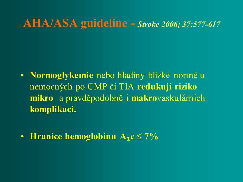 AHA/ASA guideline - Stroke 2006; 37:577-617 Normoglykemie nebo hladiny blízké normě u nemocných po CMP či TIA redukují riziko mikro a pravděpodobně i