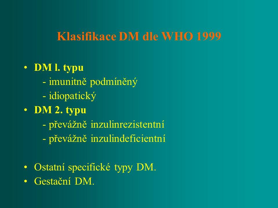 Klasifikace DM dle WHO 1999 DM l. typu - imunitně podmíněný - idiopatický DM 2. typu - převážně inzulinrezistentní - převážně inzulindeficientní Ostat
