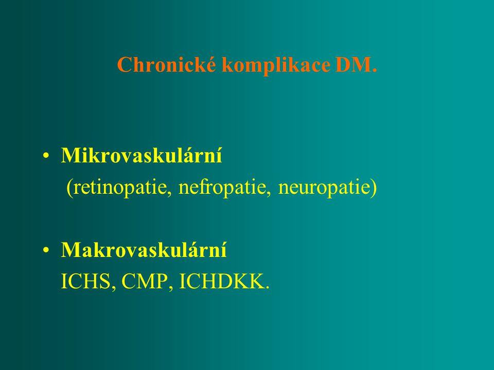 Chronické komplikace DM. Mikrovaskulární (retinopatie, nefropatie, neuropatie) Makrovaskulární ICHS, CMP, ICHDKK.