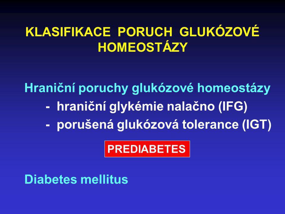 KLASIFIKACE PORUCH GLUKÓZOVÉ HOMEOSTÁZY Hraniční poruchy glukózové homeostázy - hraniční glykémie nalačno (IFG) - porušená glukózová tolerance (IGT) D