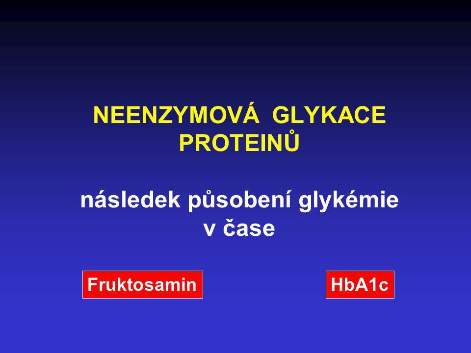 NEENZYMOVÁ GLYKACE PROTEINŮ následek působení glykémie v čase FruktosaminHbA1c