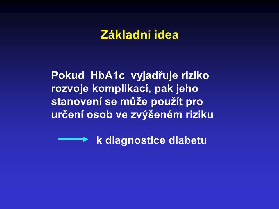 Základní idea Pokud HbA1c vyjadřuje riziko rozvoje komplikací, pak jeho stanovení se může použít pro určení osob ve zvýšeném riziku k diagnostice diab