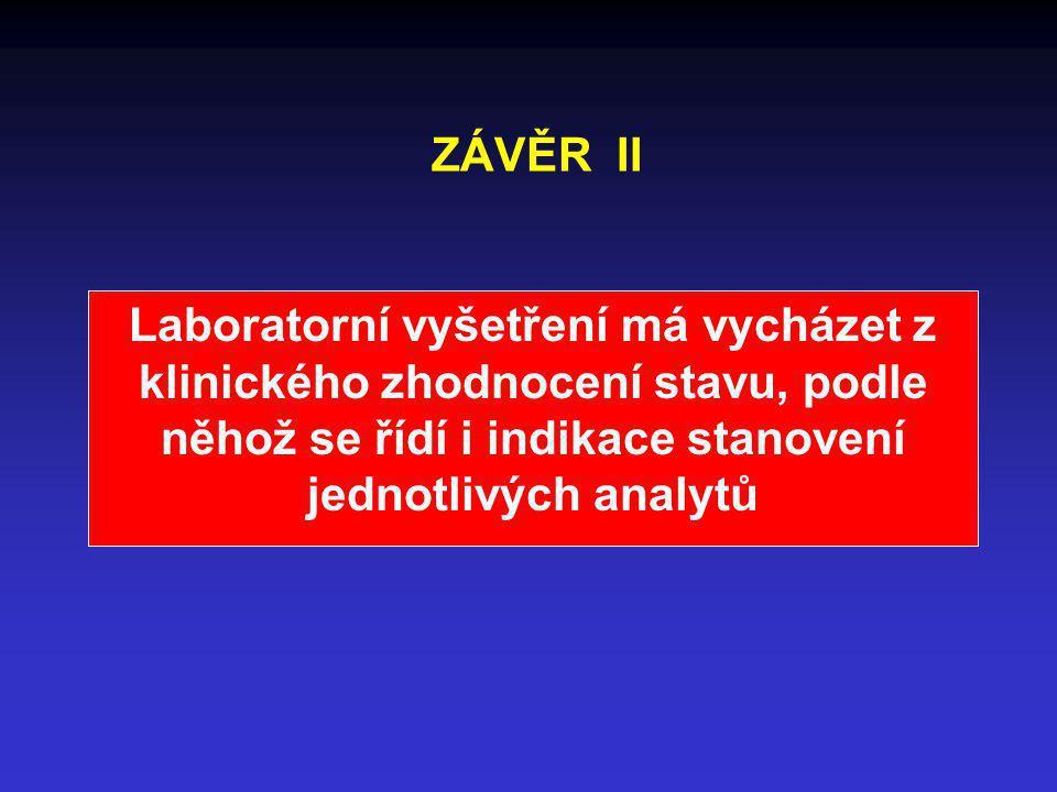ZÁVĚR II Laboratorní vyšetření má vycházet z klinického zhodnocení stavu, podle něhož se řídí i indikace stanovení jednotlivých analytů