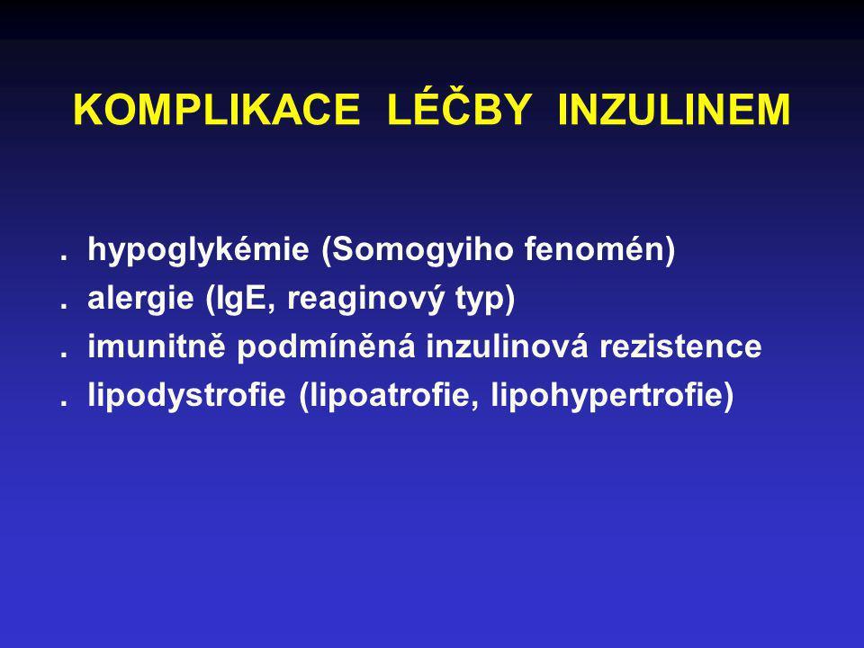 KOMPLIKACE LÉČBY INZULINEM. hypoglykémie (Somogyiho fenomén). alergie (IgE, reaginový typ). imunitně podmíněná inzulinová rezistence. lipodystrofie (l