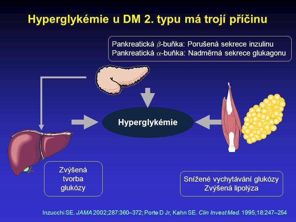 Hyperglykémie u DM 2. typu má trojí příčinu Pankreatická  -buňka: Porušená sekrece inzulinu Pankreatická  -buňka: Nadměrná sekrece glukagonu Zvýšená