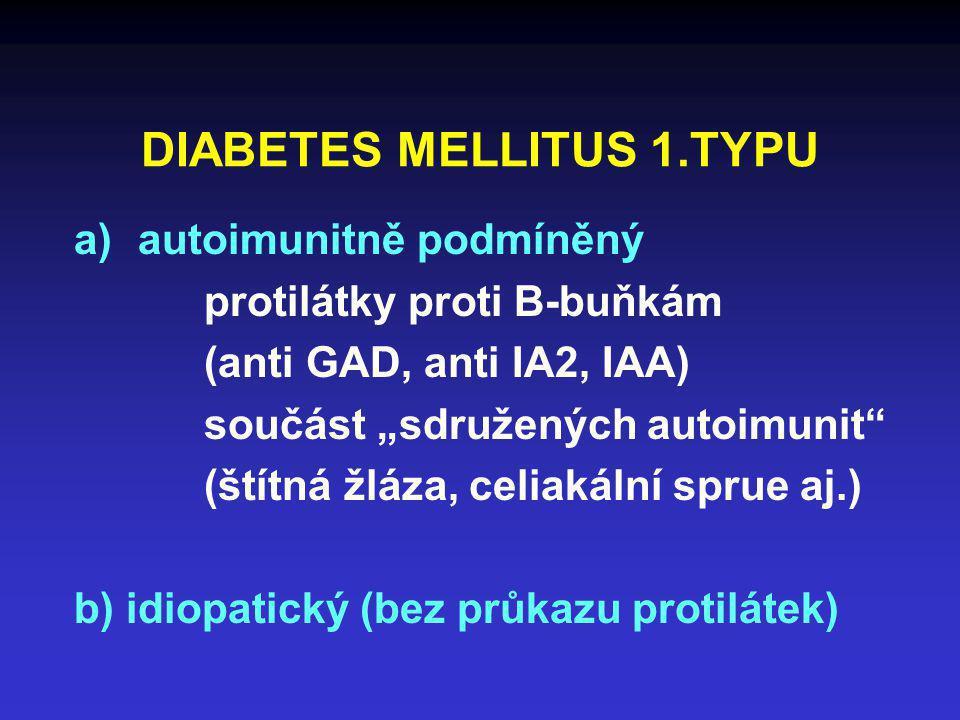 """DIABETES MELLITUS 1.TYPU a)autoimunitně podmíněný protilátky proti B-buňkám (anti GAD, anti IA2, IAA) součást """"sdružených autoimunit"""" (štítná žláza, c"""