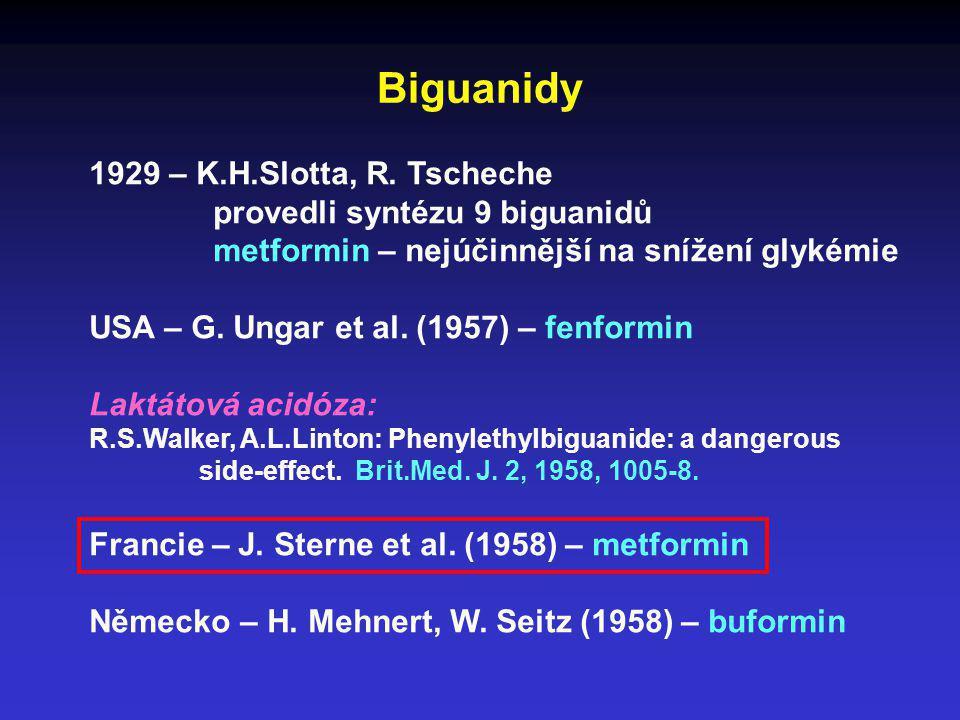 Biguanidy 1929 – K.H.Slotta, R. Tscheche provedli syntézu 9 biguanidů metformin – nejúčinnější na snížení glykémie USA – G. Ungar et al. (1957) – fenf