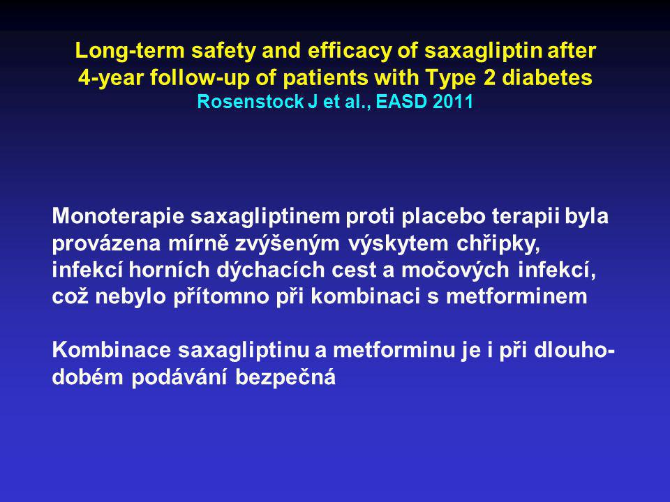 Long-term safety and efficacy of saxagliptin after 4-year follow-up of patients with Type 2 diabetes Rosenstock J et al., EASD 2011 Monoterapie saxagl
