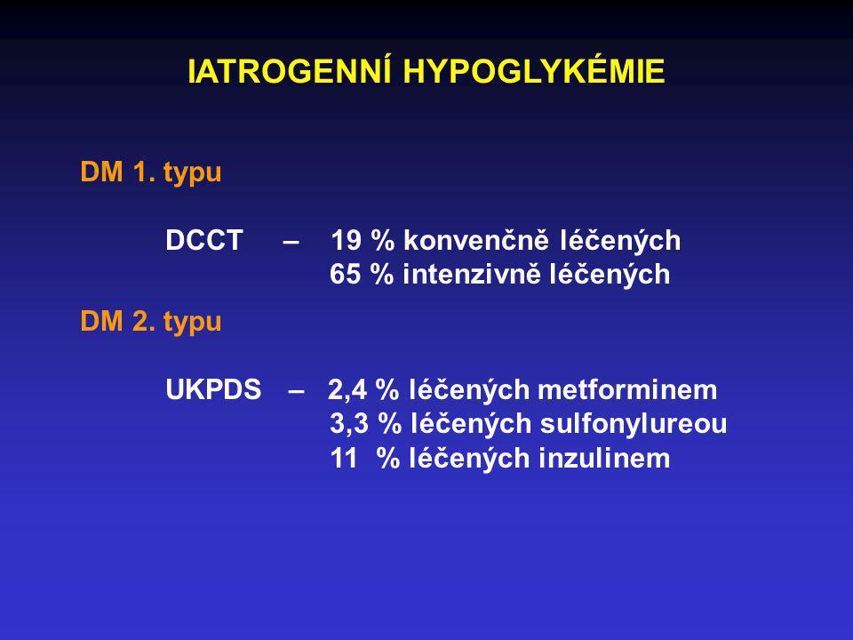 IATROGENNÍ HYPOGLYKÉMIE DM 1. typu DCCT – 19 % konvenčně léčených 65 % intenzivně léčených DM 2. typu UKPDS – 2,4 % léčených metforminem 3,3 % léčenýc