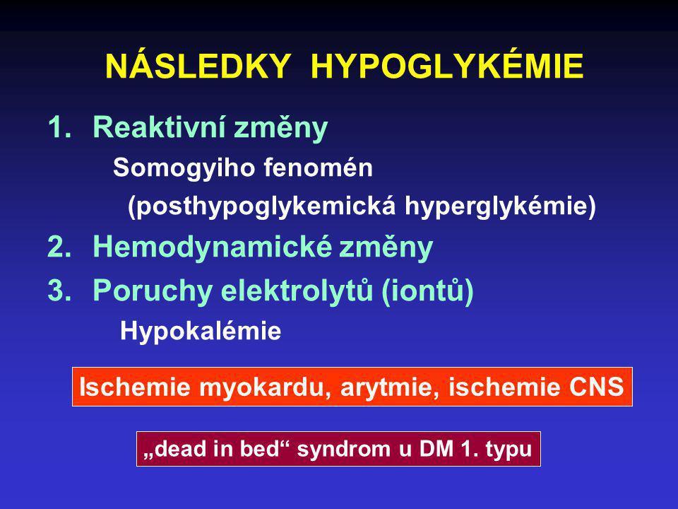 NÁSLEDKY HYPOGLYKÉMIE 1.Reaktivní změny Somogyiho fenomén (posthypoglykemická hyperglykémie) 2.Hemodynamické změny 3.Poruchy elektrolytů (iontů) Hypok