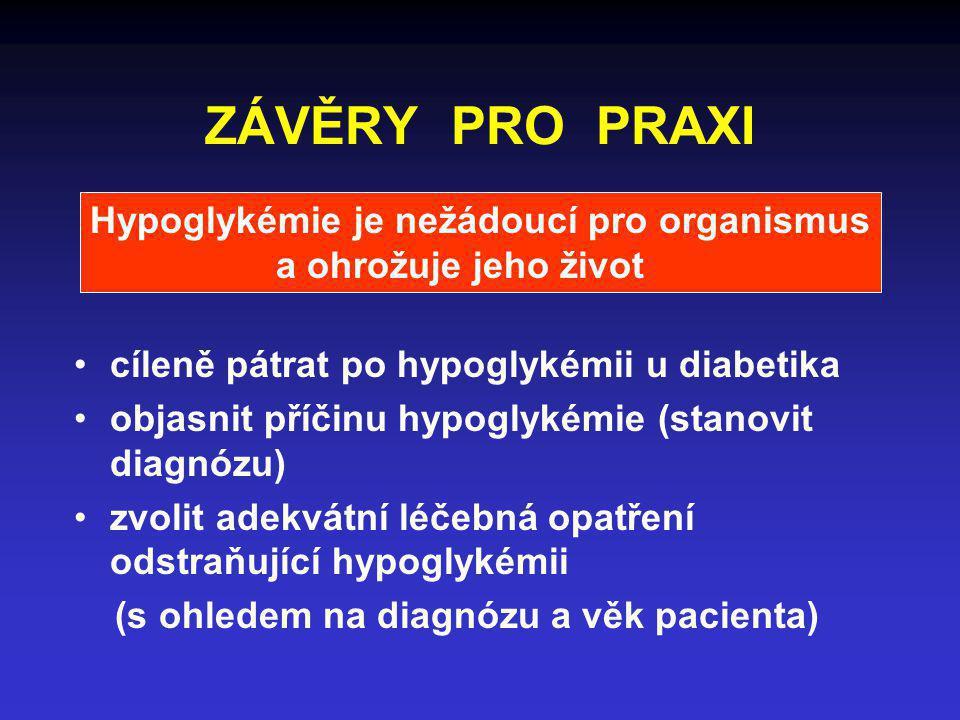 ZÁVĚRY PRO PRAXI cíleně pátrat po hypoglykémii u diabetika objasnit příčinu hypoglykémie (stanovit diagnózu) zvolit adekvátní léčebná opatření odstraň
