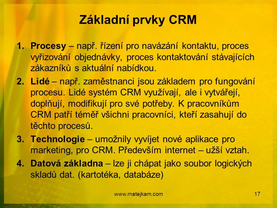 Základní prvky CRM 1.Procesy – např. řízení pro navázání kontaktu, proces vyřizování objednávky, proces kontaktování stávajících zákazníků s aktuální