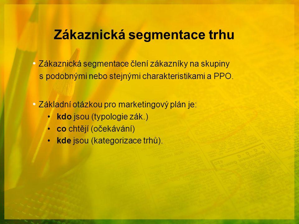 Zákaznická segmentace trhu Zákaznická segmentace člení zákazníky na skupiny s podobnými nebo stejnými charakteristikami a PPO. Základní otázkou pro ma