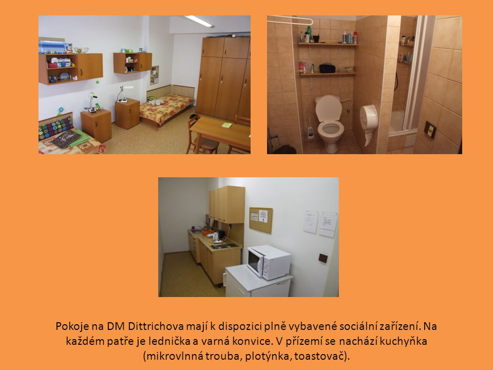 Pokoje na DM Dittrichova mají k dispozici plně vybavené sociální zařízení. Na každém patře je lednička a varná konvice. V přízemí se nachází kuchyňka
