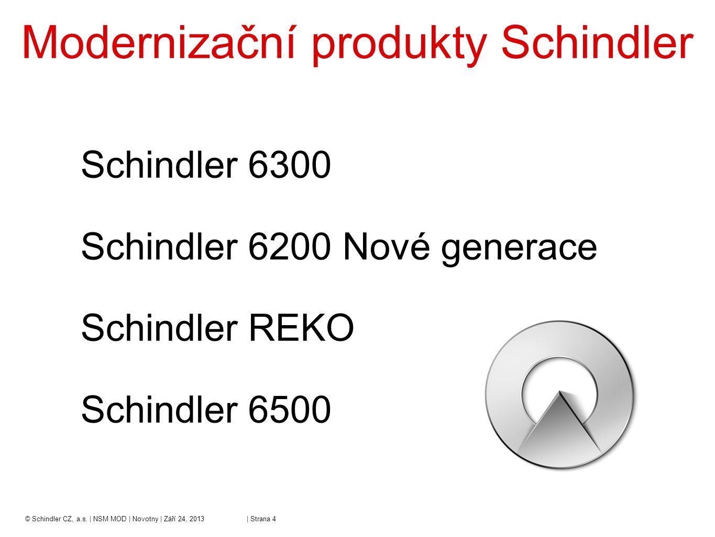 –Nosnost 320kg – 1125kg –Rychlost 1 m/s a 1,6 m/s –Bezstrojovnové provedení (možno i se strojovnou) –1 nebo 2 vstupy do kabiny (průchozí kabina) –Automatické šachetní a kabinové dveře 600 – 1100 mm –Víc než 100.000 běžících instalací na světě –V ČR z toho cca 400 ks © Schindler CZ, a.s.