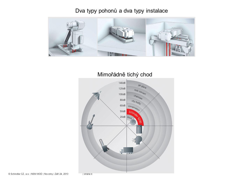 © Schindler CZ, a.s. | NSM MOD | Novotny | Září 24, 2013 | Strana 8 Dva typy pohonů a dva typy instalace Mimořádně tichý chod