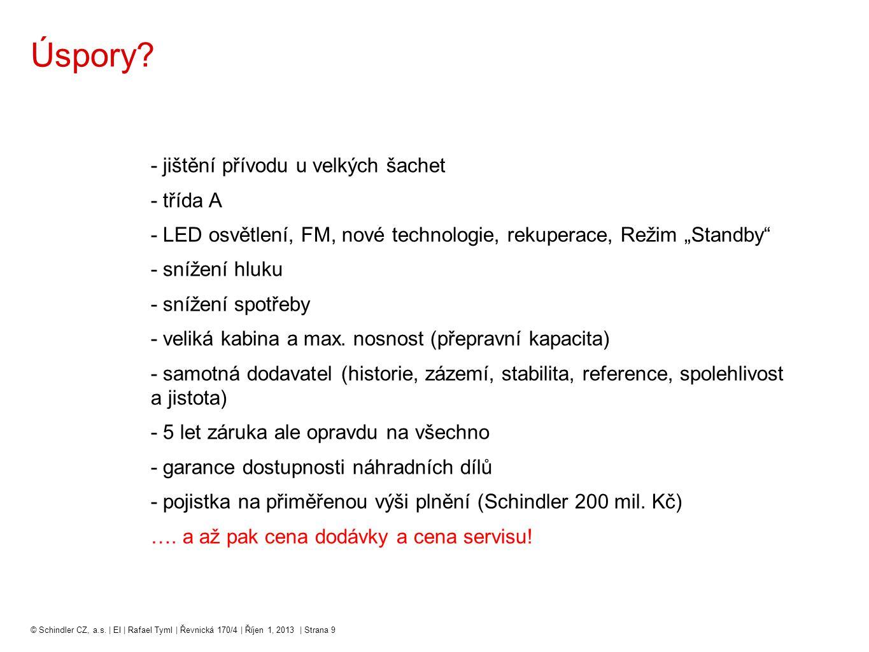 """Úspory? - jištění přívodu u velkých šachet - třída A - LED osvětlení, FM, nové technologie, rekuperace, Režim """"Standby"""" - snížení hluku - snížení spot"""