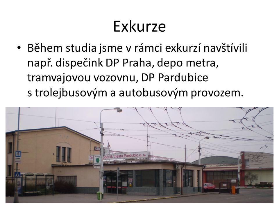 Exkurze Během studia jsme v rámci exkurzí navštívili např. dispečink DP Praha, depo metra, tramvajovou vozovnu, DP Pardubice s trolejbusovým a autobus