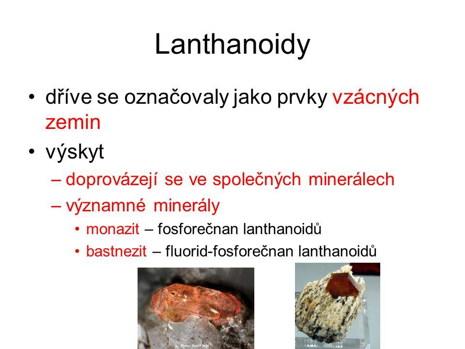 Lanthanoidy výroba –z monazitu a bastnezitu sloučeniny jednotlivých kovů se nejprve rozdělují podle různé rozpustnosti čisté kovy se vyrábějí elektrolýzou solí využití –do různých slitin –čisté mají pouze malé využití