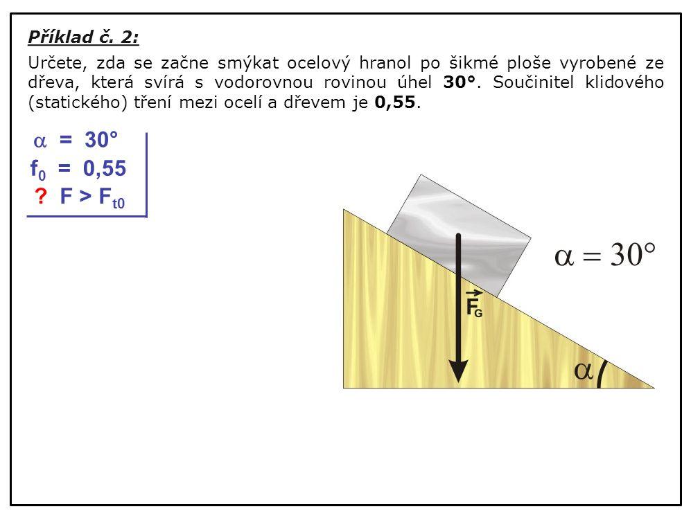 Příklad č. 2: Určete, zda se začne smýkat ocelový hranol po šikmé ploše vyrobené ze dřeva, která svírá s vodorovnou rovinou úhel 30°. Součinitel klido