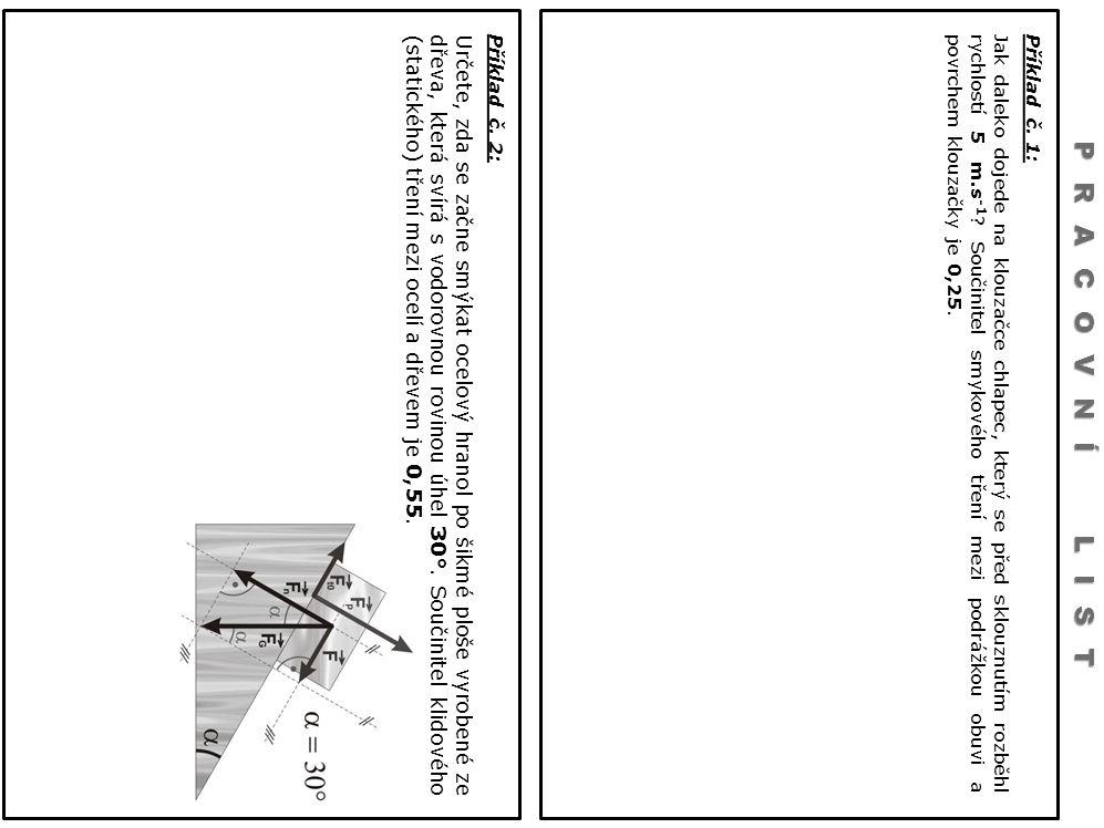Příklad č. 1: Jak daleko dojede na klouzačce chlapec, který se před sklouznutím rozběhl rychlostí 5 m.s -1 ? Součinitel smykového tření mezi podrážkou