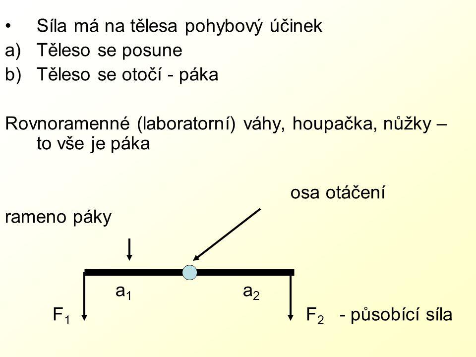 Síla má na tělesa pohybový účinek a)Těleso se posune b)Těleso se otočí - páka Rovnoramenné (laboratorní) váhy, houpačka, nůžky – to vše je páka osa otáčení rameno páky a 1 a 2 F 1 F 2 - působící síla