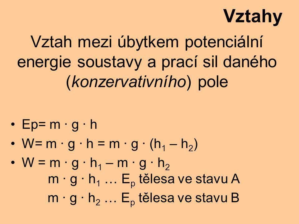 Vztah mezi úbytkem potenciální energie soustavy a prací sil daného (konzervativního) pole Ep= m · g · h W= m · g · h = m · g · (h 1 – h 2 ) W = m · g · h 1 – m · g · h 2 m · g · h 1 … E p tělesa ve stavu A m · g · h 2 … E p tělesa ve stavu B Vztahy