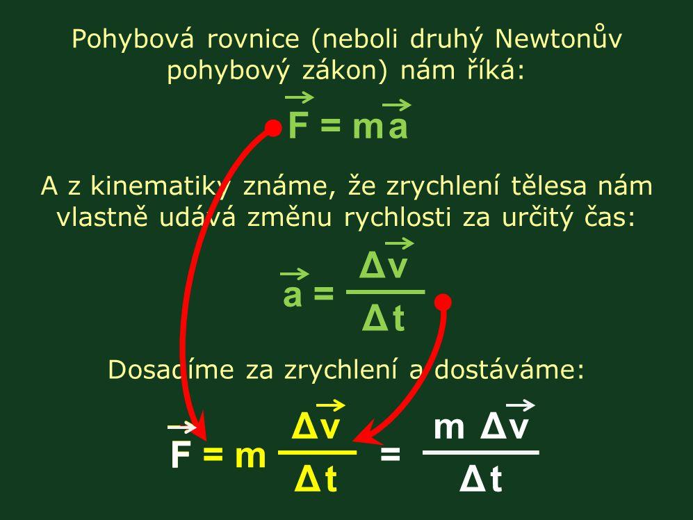 Pohybová rovnice (neboli druhý Newtonův pohybový zákon) nám říká: F = m a Δ vΔ tΔ vΔ t a = A z kinematiky známe, že zrychlení tělesa nám vlastně udává