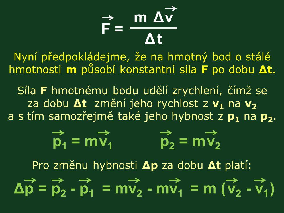 m Δ v Δ t F = Nyní předpokládejme, že na hmotný bod o stálé hmotnosti m působí konstantní síla F po dobu Δt. Síla F hmotnému bodu udělí zrychlení, čím
